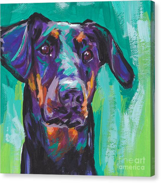 Doberman Pinschers Canvas Print - Dobie Love by Lea S