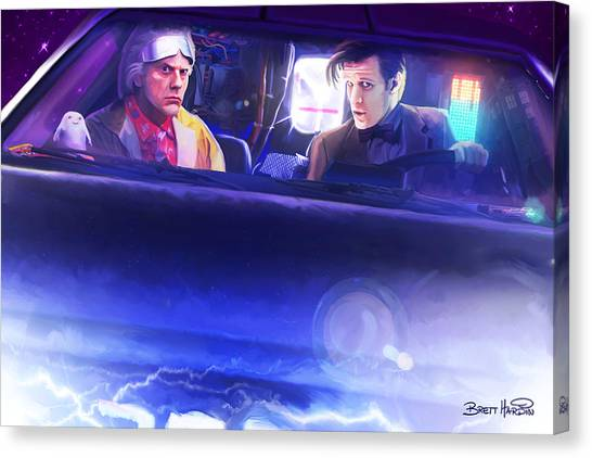 Doc Doctor And The Delorian Canvas Print