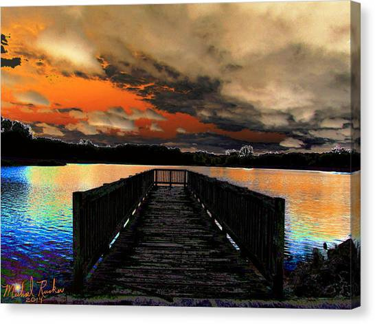 Dock In The Park Canvas Print by Michael Rucker