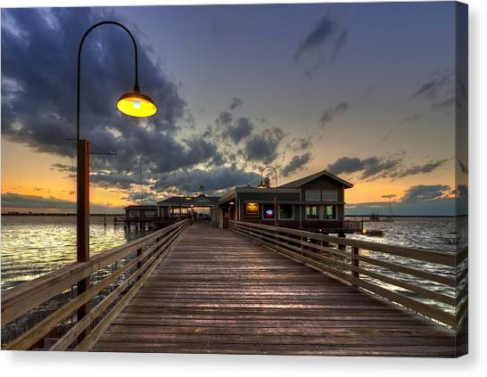Ocean Sunrises Canvas Print - Dock Lights At Jekyll Island by Debra and Dave Vanderlaan