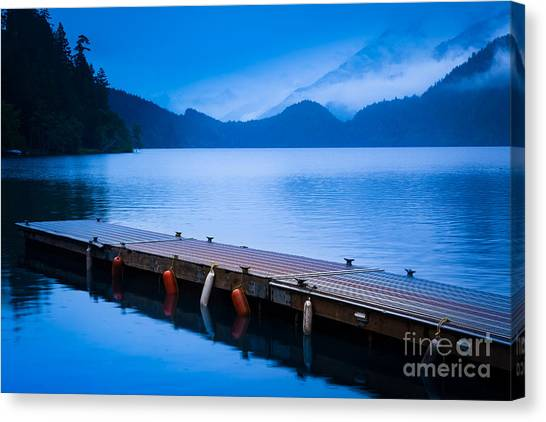 Olympic Peninsula Canvas Print - Dock On The Lake by Inge Johnsson