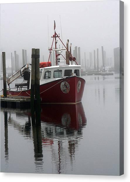 Docked In Fog Canvas Print
