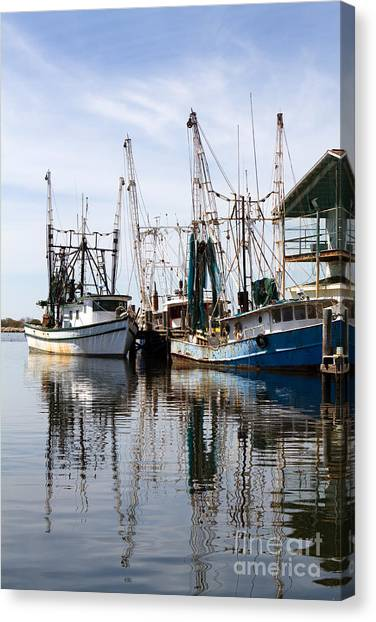 Docked Shrimp Boats Canvas Print