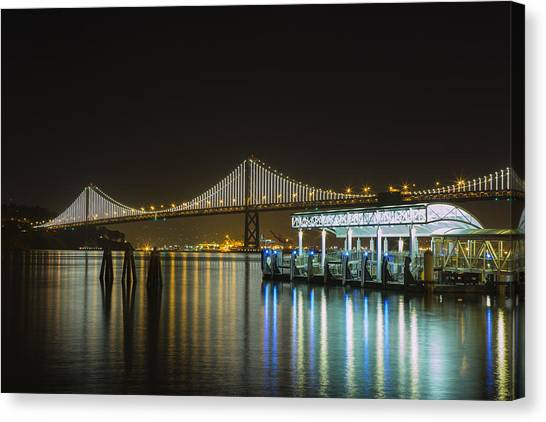 Docks And Bay Lights Canvas Print