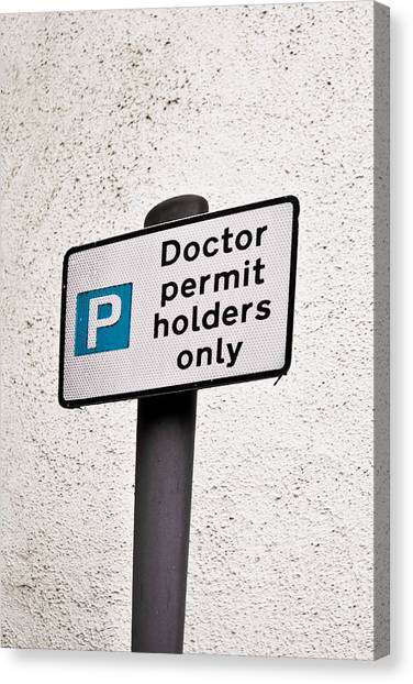 Careers Canvas Print - Doctor Parking by Tom Gowanlock