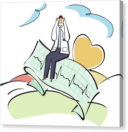 Doctor Sitting On An Ecg Report Canvas Print by Fanatic Studio / Science Photo Library