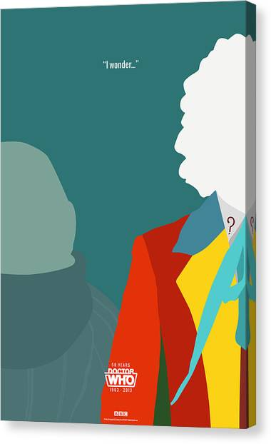 Tardis Canvas Print - Doctor Who 50th Anniversary Poster Set Sixth Doctor by Jeff Bell