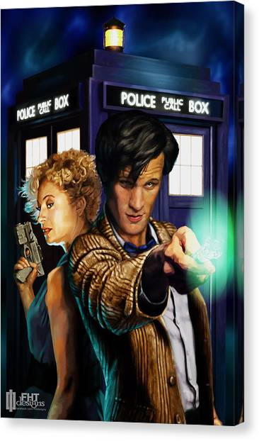 Tardis Canvas Print - Doctor Who by FHT Designs
