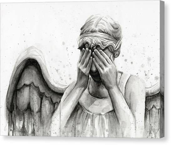 Angel Canvas Print - Doctor Who Weeping Angel Don't Blink by Olga Shvartsur