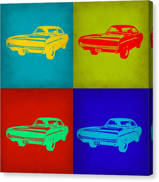 Muscles Canvas Print - Dodge Charger Pop Art 2 by Naxart Studio