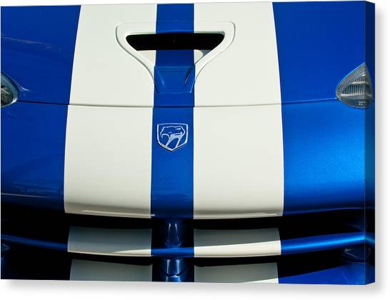 Vipers Canvas Print - Dodge Viper Hood Emblem by Jill Reger
