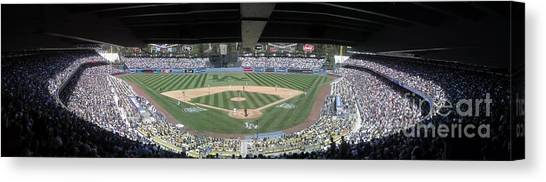 Strikeout Canvas Print - Dodger Baseball by Chris Tarpening