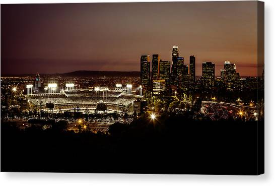 Stadiums Canvas Print - Dodger Stadium At Dusk by Linda Posnick