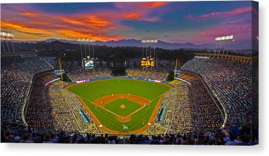 Los Angeles Dodgers Canvas Print - Dodger Stadium by Kevin D Haley