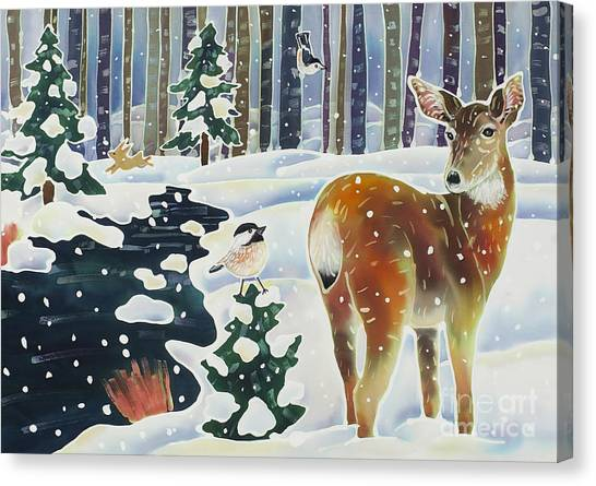 Chickadees Canvas Print - Doe And The Chickadee by Harriet Peck Taylor