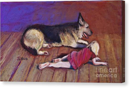 Dog And Child Canvas Print by Joyce A Guariglia