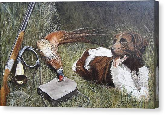 Dog And Pheasant Canvas Print by Zeljko Djokic