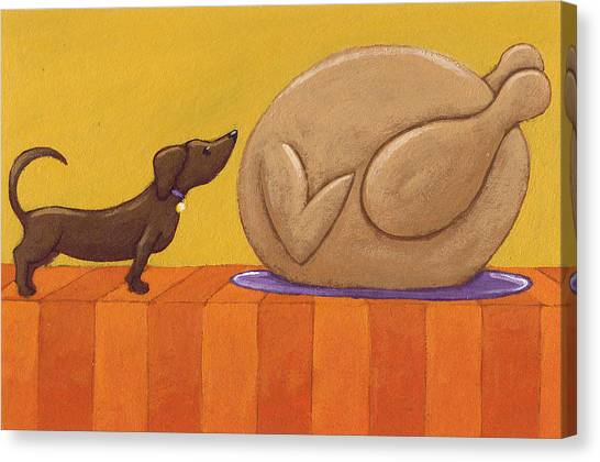 Turkey Dinner Canvas Print - Dog And Turkey by Christy Beckwith