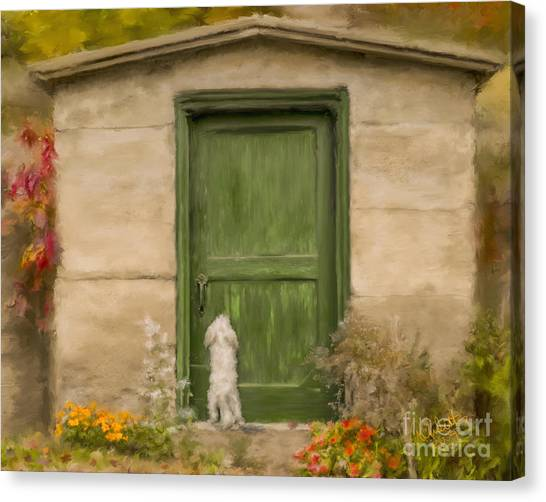 Dog At The Door Canvas Print