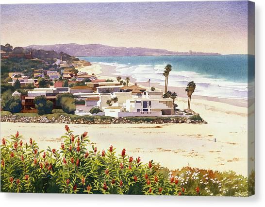 Mars Canvas Print - Dog Beach Del Mar by Mary Helmreich