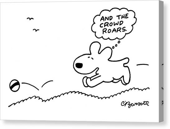 December Canvas Print - Dog Chases After A Ball by Charles Barsotti