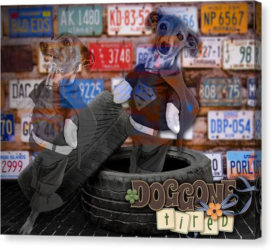 Dog-gone Tired Canvas Print