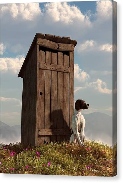 Dog Guarding An Outhouse Canvas Print