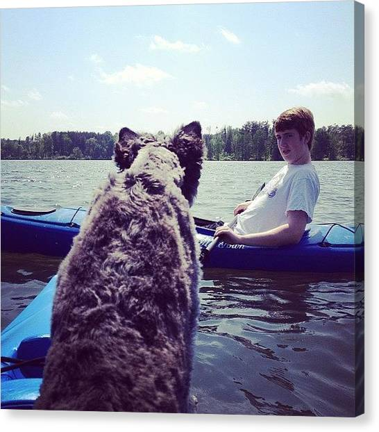 Kayaks Canvas Print - Dog Meets Boy... #kayaking by Melissa Wyatt