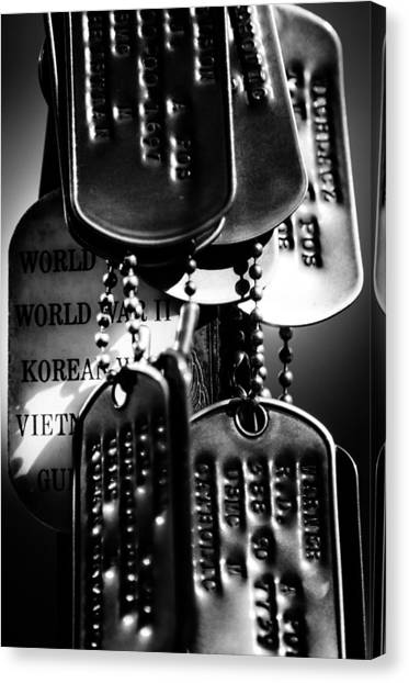 Dog Tags From War Canvas Print