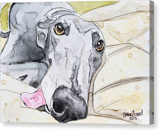 Watercolor Pet Portraits Canvas Print - Dog Tired by Shaina Stinard