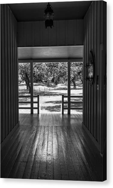 Lyndon Johnson Canvas Print - Dog Trot At Lbj Birthplace Bw by Joan Carroll