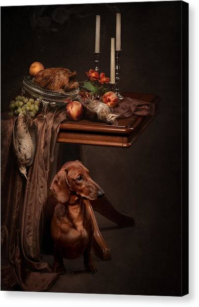 Canvas Print - Dog Under The Table by Tanya Kozlovsky