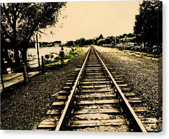 Dog Walk Along The Wayzata Train Tracks Canvas Print