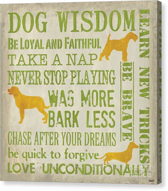 Schnauzers Canvas Print - Dog Wisdom by Debbie DeWitt