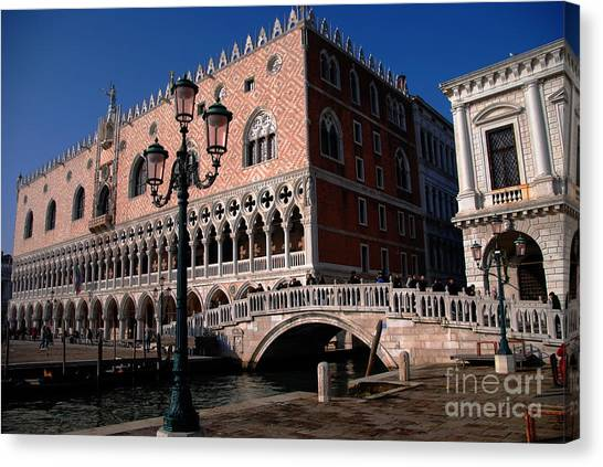 Doges Palace With Bridge Of Sighs Canvas Print by Jacqueline M Lewis