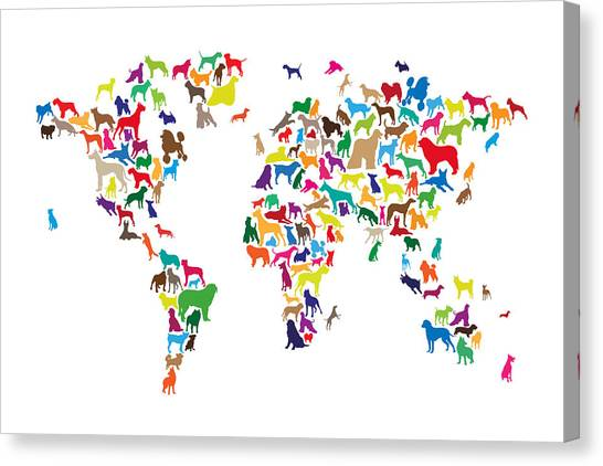 Old World Canvas Print - Dogs Map Of The World Map by Michael Tompsett