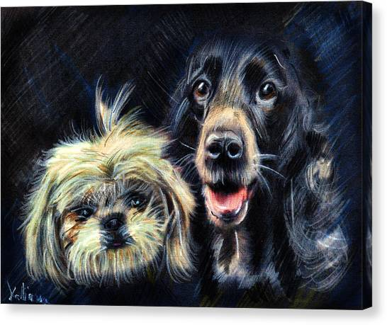 Dogs - Pencil Drawing Canvas Print