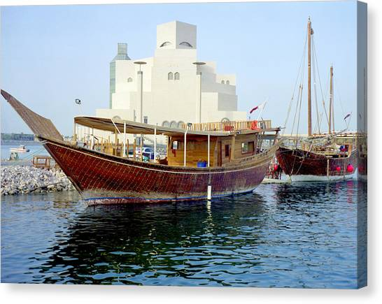 Doha Dhows And Islamic Art Museum Canvas Print