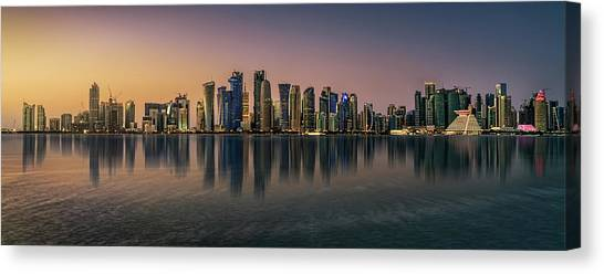Doha Reflections Canvas Print by Antoni Figueras