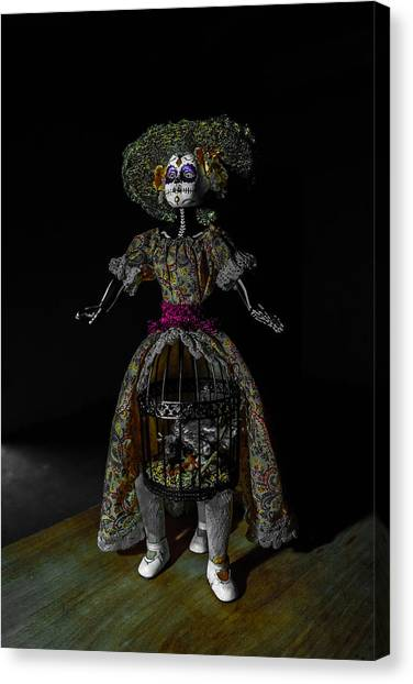 Doll With Dead Bird In New Orleans Canvas Print