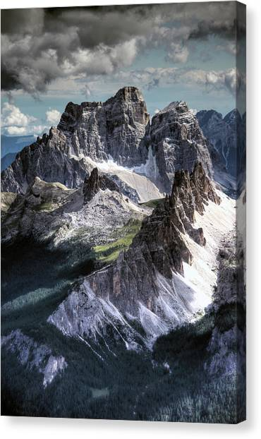 Dolomites Peaks View From Lagazuoi Canvas Print by Mariusz Kluzniak