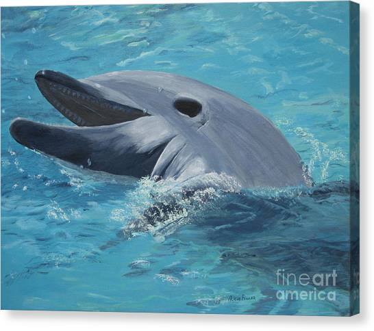 Dolphin At Play Canvas Print