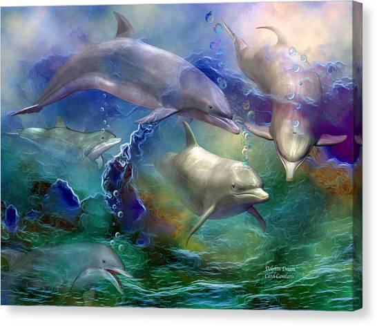 Dolphins Canvas Print - Dolphin Dream by Carol Cavalaris