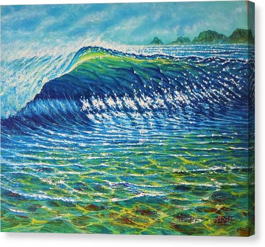 Dolphin Surf Canvas Print by Joseph   Ruff