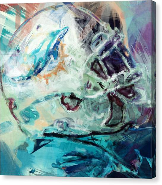 Gridiron Canvas Print - Dolphins Art by David G Paul