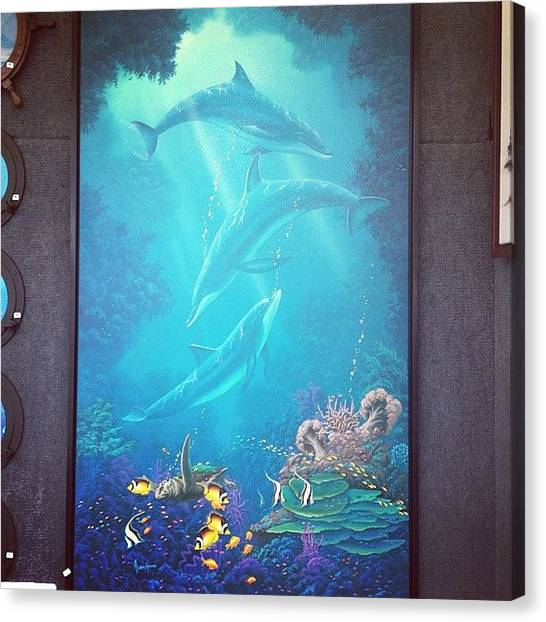 Dolphins Canvas Print - #dolphins #art #festival #painting by Ashley DAgostino
