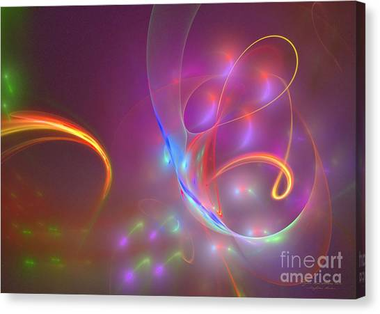 Canvas Print featuring the digital art Dolphins Dream by Sipo Liimatainen