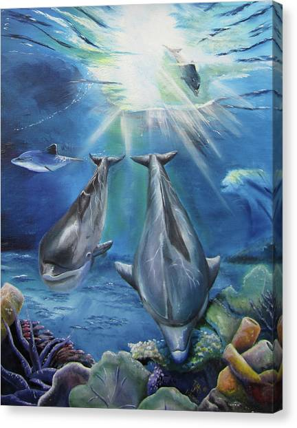 Dolphins Playing Canvas Print