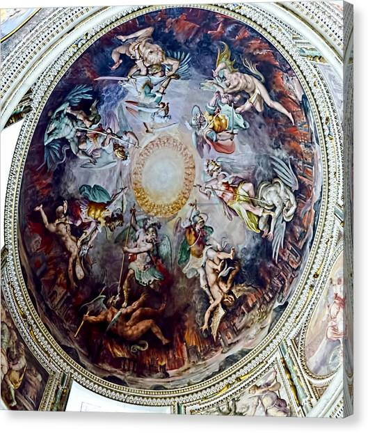 The Vatican Museum Canvas Print - Dome Cupula Of Angels Fighting Demons by Jon Berghoff