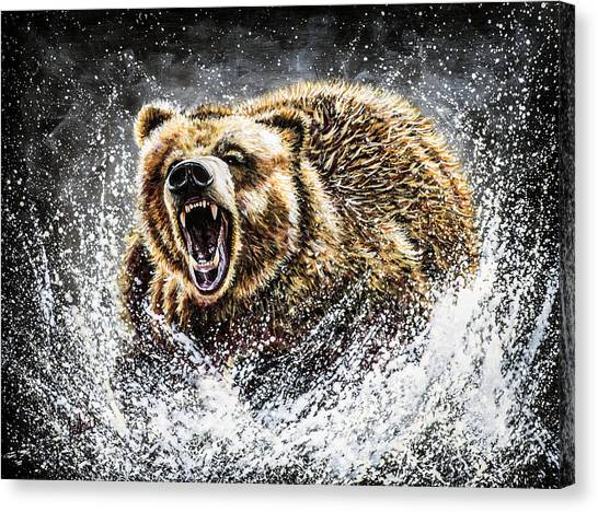 Fighting Canvas Print - Dominance by Teshia Art